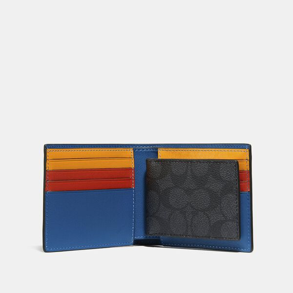 3-In-1 Wallet In Signature Canvas With Coach Patch, CHARCOAL SIGNATURE MULTI, hi-res