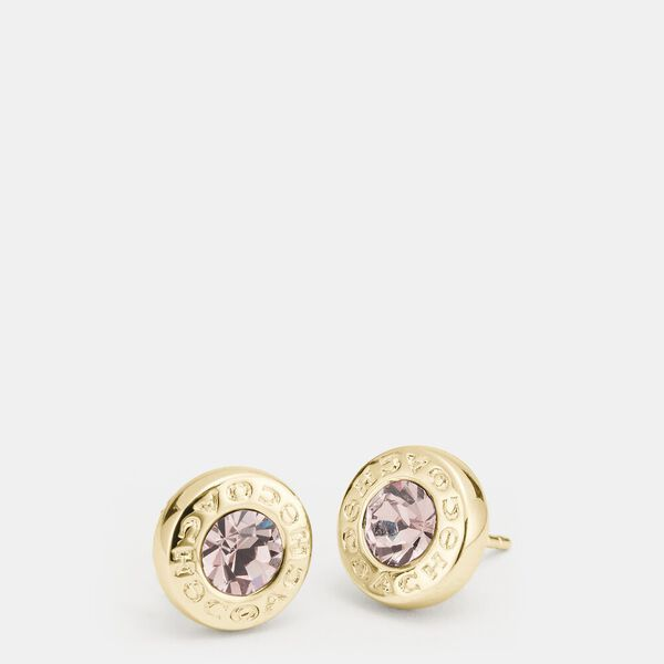 Open Circle Stone Strand Earrings, GOLD, hi-res