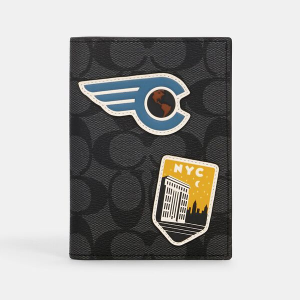 Passport Case In Signature Canvas With Travel Patches, QB/CHARCOAL MULTI, hi-res