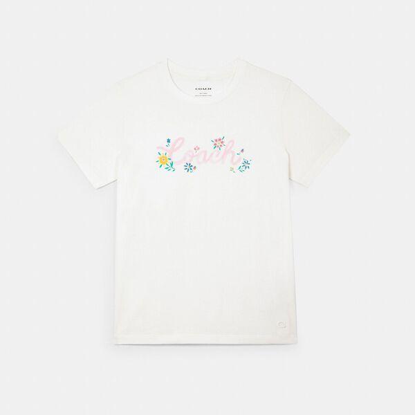 Painted Floral Print T-Shirt, WHITE, hi-res