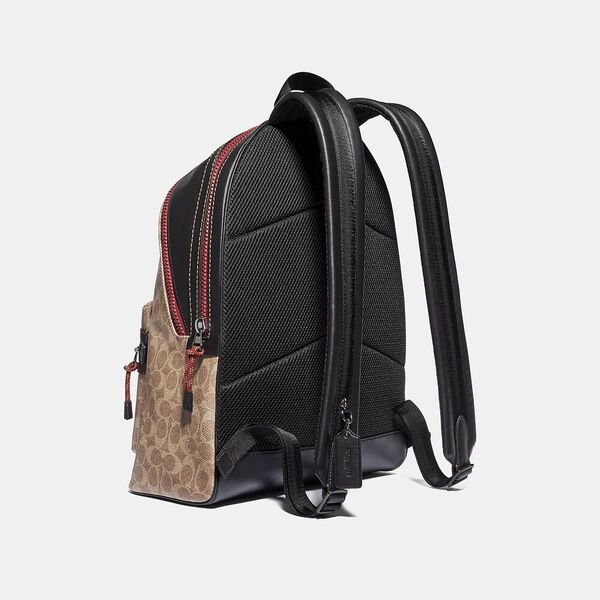 Academy Backpack In Signature Canvas With Coach Patch, JI/KHAKI, hi-res