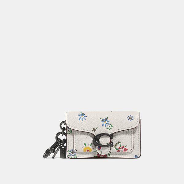 Mini Tabby Bag Charm With Wildflower Print, V5/CHALK MULTI, hi-res