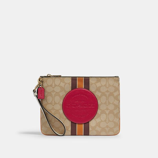 Dempsey Gallery Pouch In Signature Jacquard With Stripe And Coach Patch, IM/LT KHAKI ELECTRIC PINK, hi-res