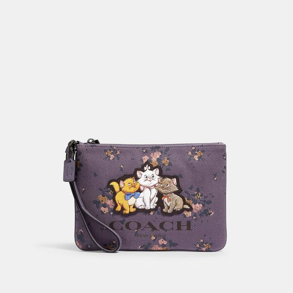 Disney X Coach Gallery Pouch With Rose Bouquet Print And Aristocats, QB/DUSTY LAVENDER MULTI, hi-res