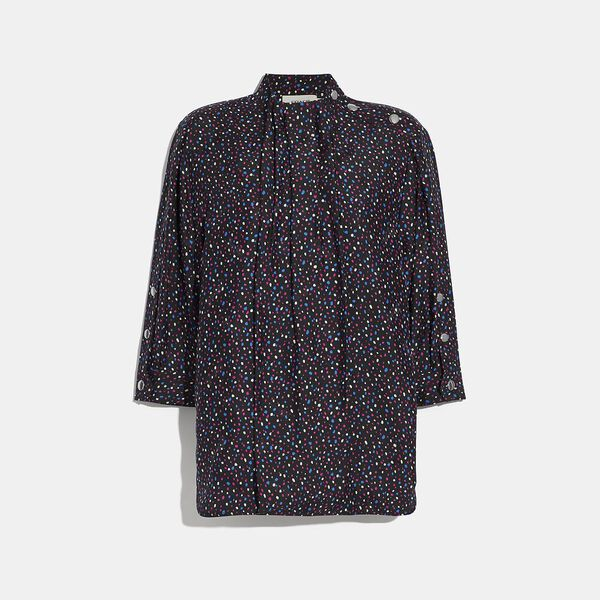 Dot Print Short Sleeve Blouse, BLACK/BLUE, hi-res