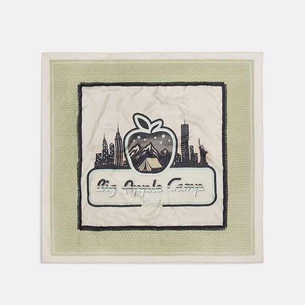 Big Apple Camp Print Silk Oversized Square Scarf, GREEN/SADDLE, hi-res