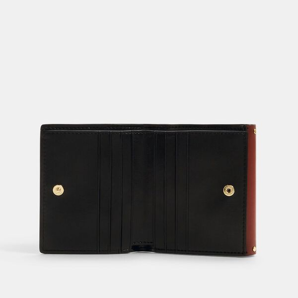 Georgie Small Wallet In Colorblock Signature Canvas With Rivets, IM/KHAKI/TERRACOTTA MULTI, hi-res