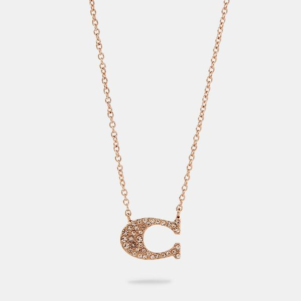 Pave Signature Necklace, ROSEGOLD, hi-res