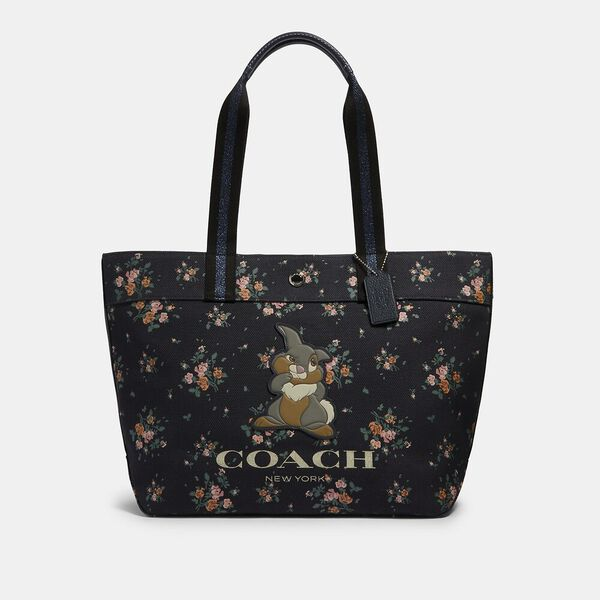 Disney X Coach Tote With Rose Bouquet Print And Thumper, SV/MIDNIGHT MULTI, hi-res