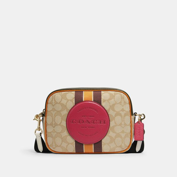 Dempsey Camera Bag In Signature Jacquard With Stripe And Coach Patch, IM/LT KHAKI ELECTRIC PINK, hi-res