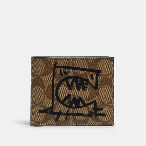 3-In-1 Wallet In Signature Coated Canvas With Rexy By Guang Yu
