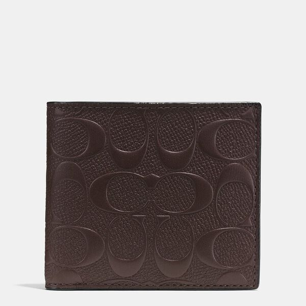 Coin Wallet In Signature Leather, MAHOGANY, hi-res
