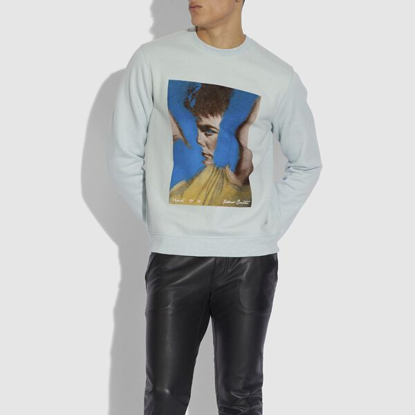 Coach X Richard Bernstein Sweatshirt With Michael J. Fox, Blue, hi-res