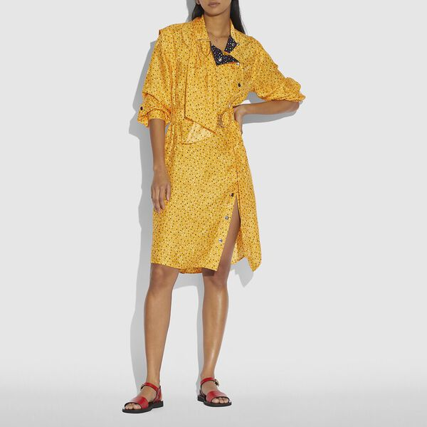 Dot Print Architectural Drape Belted Dress, Yellow/Blue, hi-res
