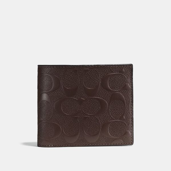 Compact Id Wallet In Signature Leather, MAHOGANY, hi-res
