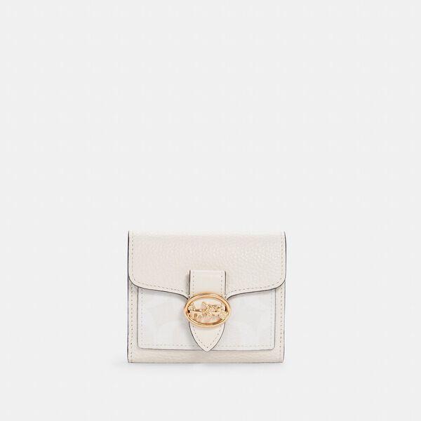Georgie Small Wallet In Signature Canvas, IM/CHALK/CHALK, hi-res