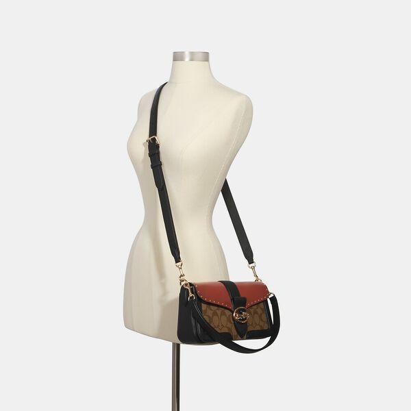 Georgie Shoulder Bag In Colorblock Signature Canvas With Rivets, IM/KHAKI/TERRACOTTA MULTI, hi-res