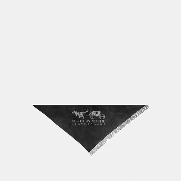 Horse And Carriage Print Oversized Triangle Scarf, BLACK, hi-res
