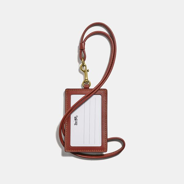 Id Lanyard In Colorblock Signature Canvas, B4/TAN RUST, hi-res