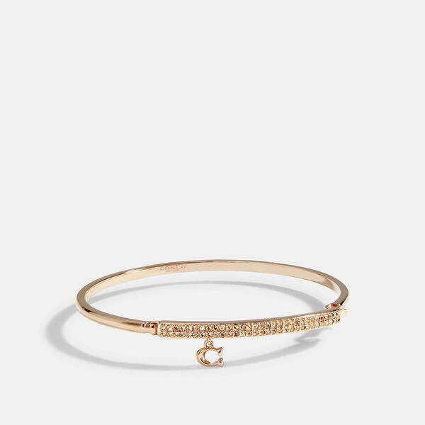 Signature Pave Bar Hinged Bangle, ROSEGOLD, hi-res