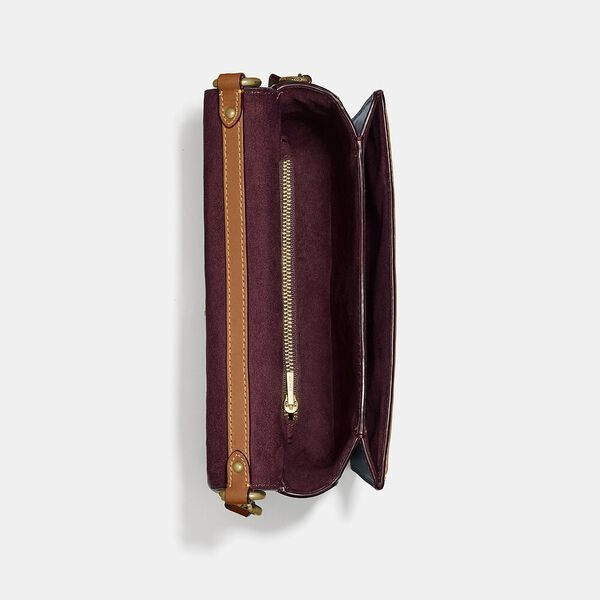 Hutton Shoulder Bag In Signature Chambray, B4/CHAMBRAY MIDNIGHT NAVY MLTI, hi-res