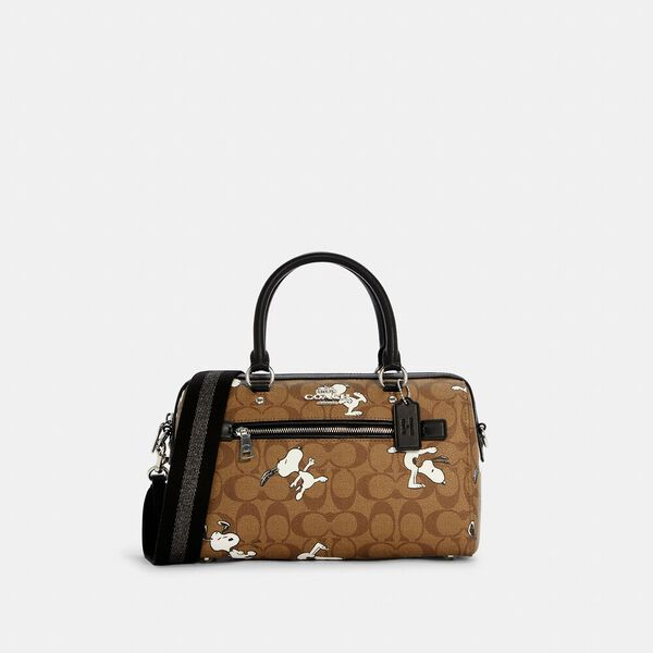 Coach X Peanuts Rowan Satchel In Signature Canvas With Snoopy Print