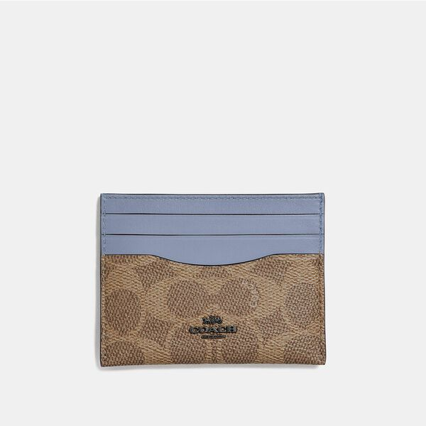 Card Case In Colorblock Signature Canvas, V5/Tan Bluebell, hi-res