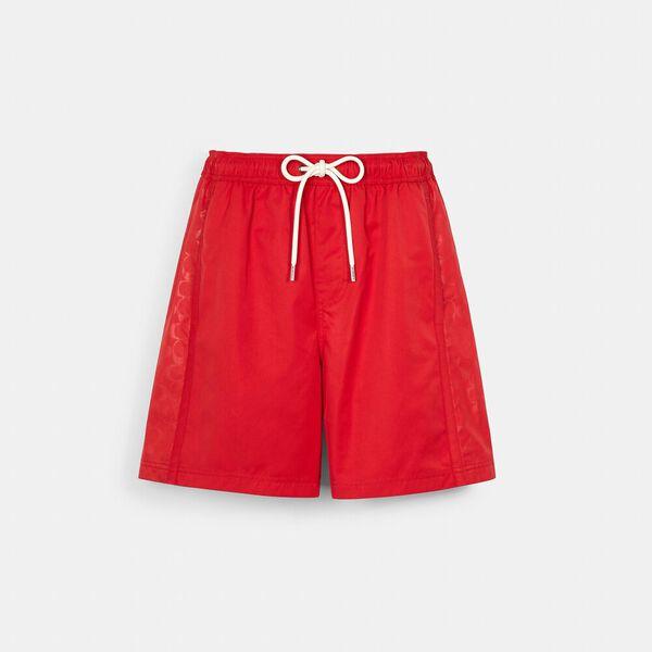 Paneled Signature Swim Trunks, CARDINAL RED, hi-res