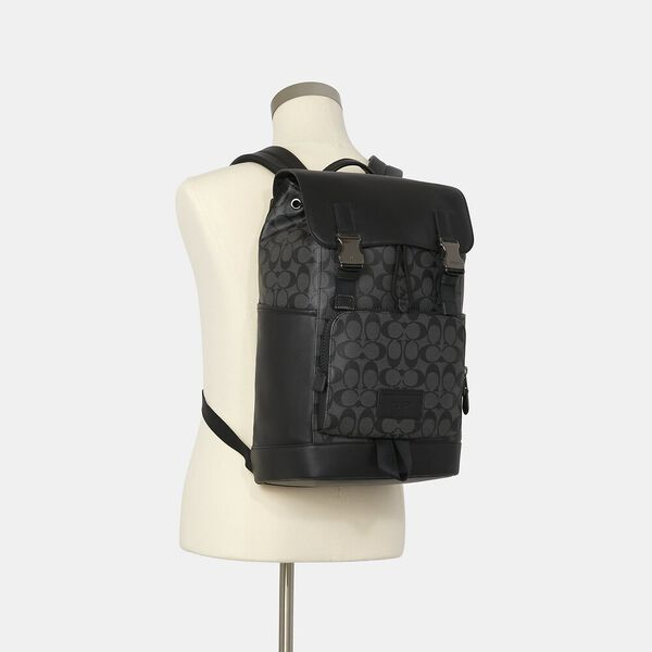 Track Backpack In Signature Canvas, QB/CHARCOAL/BLACK, hi-res