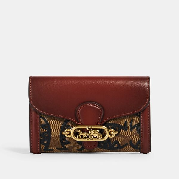 Jade Medium Envelope Wallet In Signature Canvas With Rexy By Guang Yu, QB/KHAKI MULTI, hi-res
