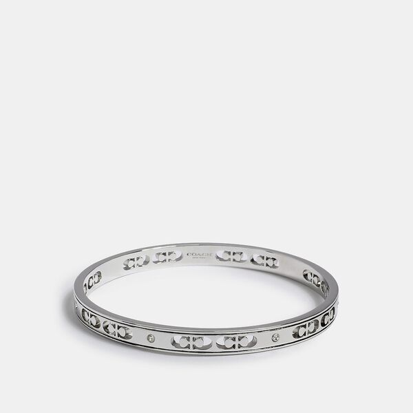 Signature Crystal Bangle, SILVER, hi-res