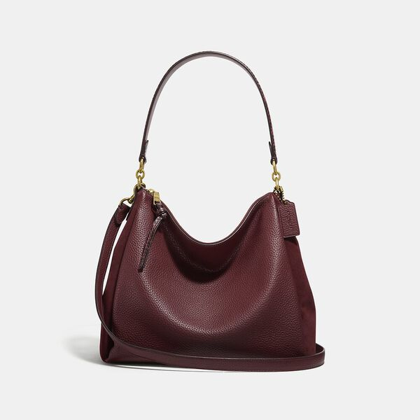 Shay Shoulder Bag With Snakeskin Detail, B4/WINE, hi-res