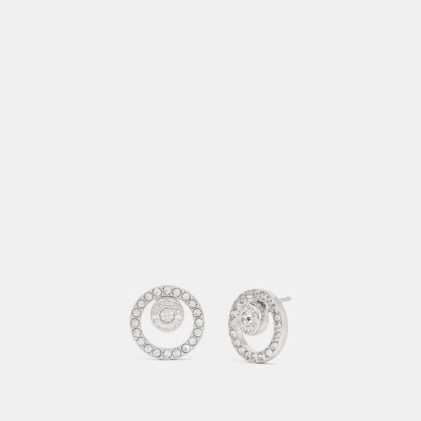 Open Circle Halo Stud Earrings, SILVER, hi-res