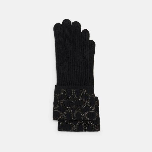 Signature Knit Tech Gloves, BLACK, hi-res