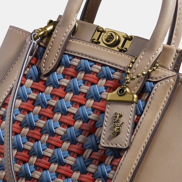 Troupe Tote 16 With Weaving, B4/LAKE MULTI, hi-res