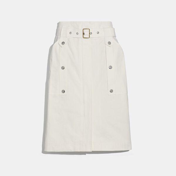 Belted Safari Skirt, White, hi-res