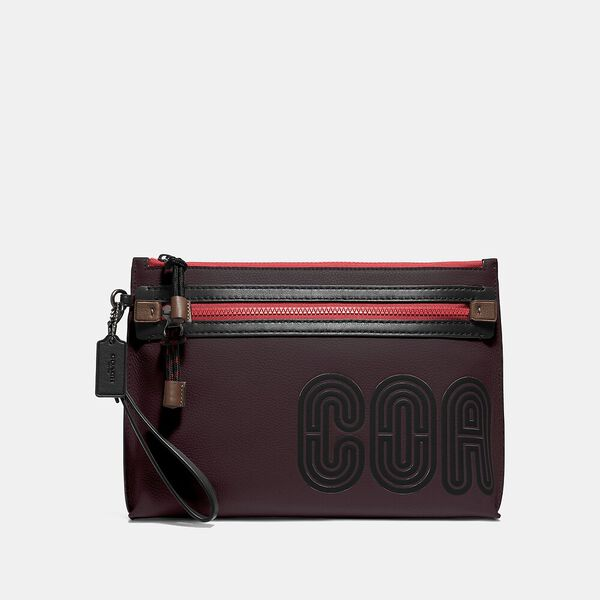 Academy Pouch With Coach Print, OXBLOOD/RACING ORANGE, hi-res