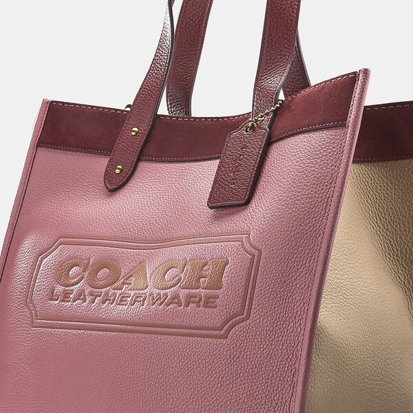 Field Tote In Colorblock With Coach Badge, B4/VINTAGE PINK MULTI, hi-res
