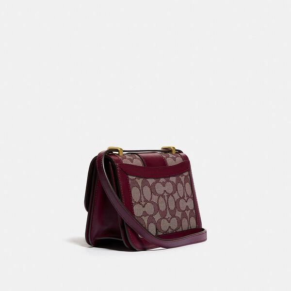 Alie Shoulder Bag 18 In Signature Jacquard With Snakeskin Detail, B4/BURGUNDY BLK CHERRY, hi-res