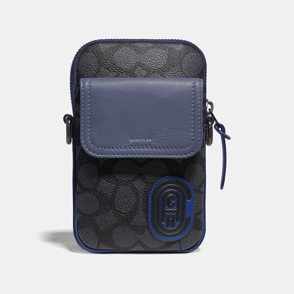 Pacer Convertible Pouch In Colorblock Signature Canvas With Coach Patch, CHARCOAL/DEEP SKY, hi-res