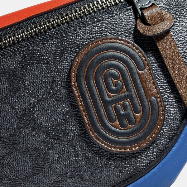 Rivington Belt Bag In Colorblock Signature Canvas With Coach Patch, JI/CHARCOAL MULTI, hi-res