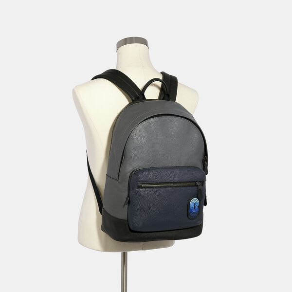 West Backpack In Colorblock With Coach Patch, QB/INDUSTRIAL GREY MULTI, hi-res