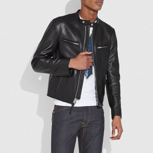 Leather Racer Jacket, BLACK, hi-res