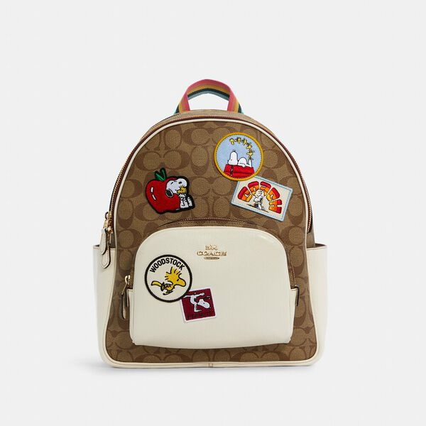 Coach X Peanuts Court Backpack In Signature Canvas With Varsity Patches