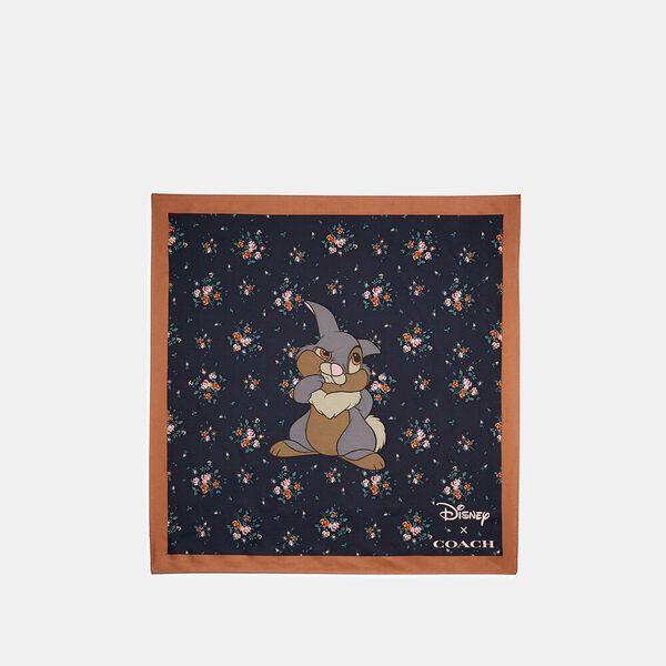 Disney X Coach Thumper Rose Bouquet Print Silk Bandana, MIDNIGHT NAVY, hi-res