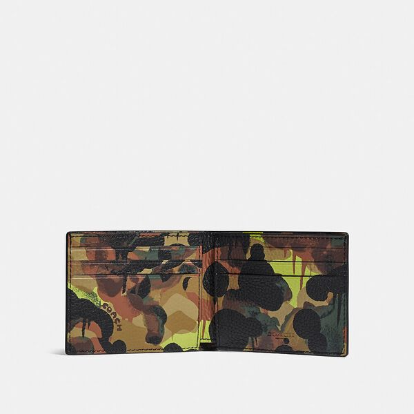 Slim Billfold Wallet With Camo Print, NEON/YELLOW/BROWN, hi-res