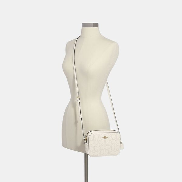 Mini Camera Bag In Signature Leather, CHALK, hi-res