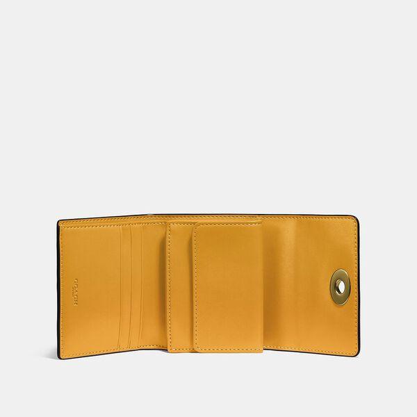 Signature Turnlock Small Wallet In Blocked Signature Canvas, B4/CHALK POLLEN, hi-res
