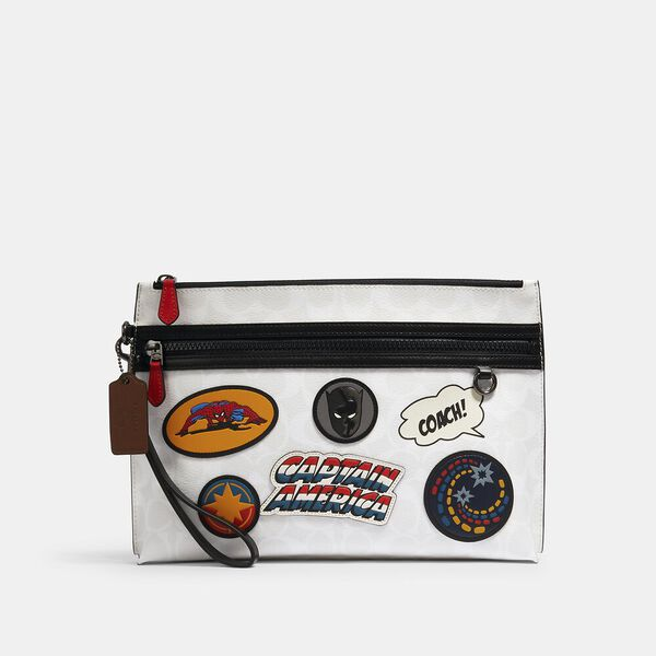 Coach x Marvel Carryall Pouch In Signature Canvas With Patches, QB/CHALK MULTI, hi-res