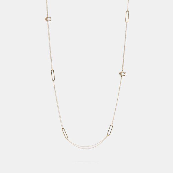 Pave Signature Long Necklace, GOLD, hi-res